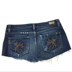 PAIGE Laurel Canyon Cut Off Jean Shorts raw hem